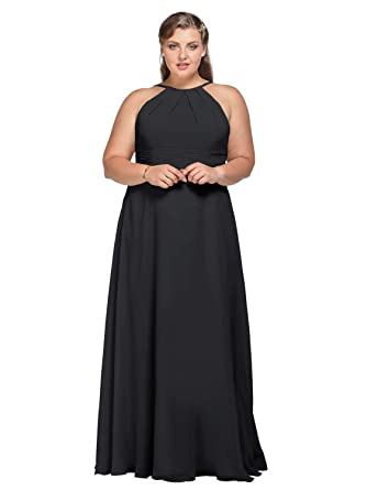 6cf3d7f3c77b7 AW Halter Chiffon Bridesmaid Dresses Plus Size Long Prom Formal Wedding  Party Dress for Women