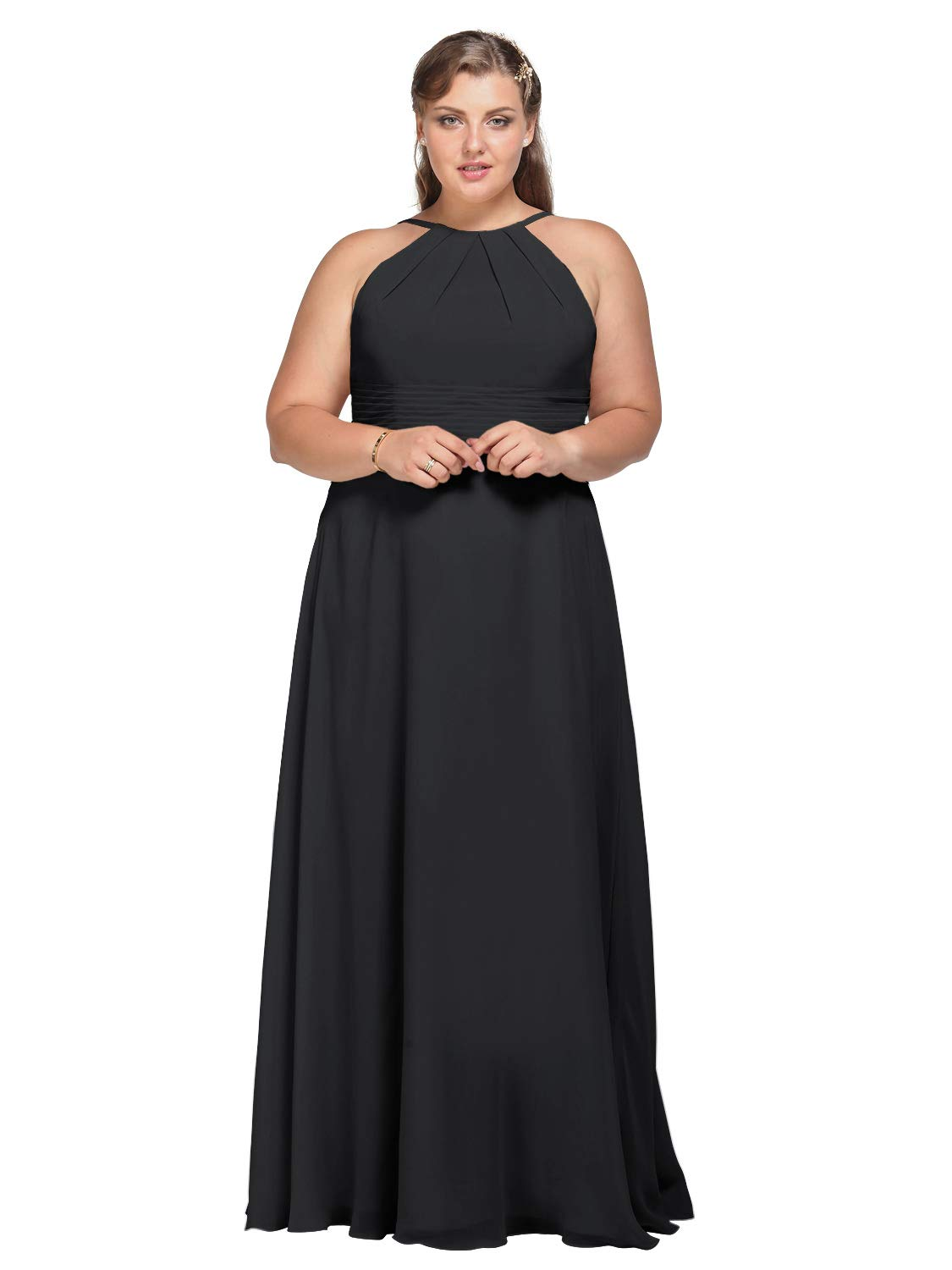 AW Halter Chiffon Bridesmaid Dresses Plus Size Long Prom Formal Wedding Party Dress for Women