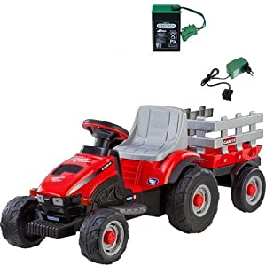 Peg-Perego-Case-IH-Lil-Tractor-Trailer-with-additional-Battery-and-Charger