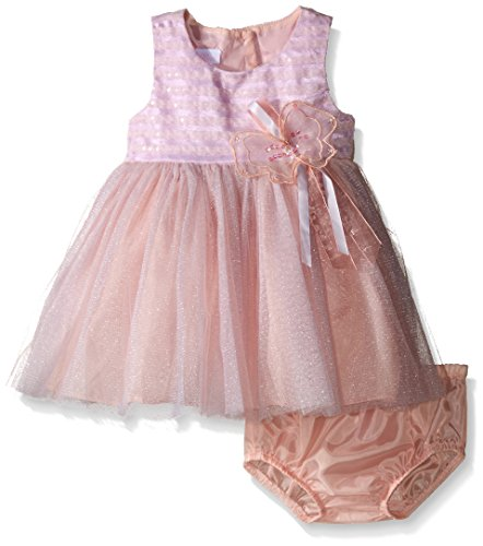 Bonnie Baby Girls' Sleeveless Side Sash Ballerina Party Dress with Panty, Pink Stripe , 18 Months (Fancy Panties Baby)