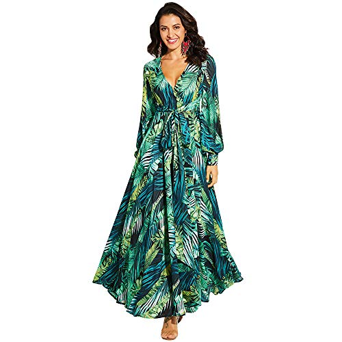LONGBIDA Women's Chiffon Maxi Dress Long Sleeve Tropical Leaf Print V Neck Boho Swing High Waist Holiday Beach Dress(Green,M)