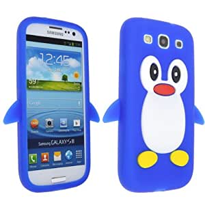 Neewer Beautiful Deep Blue 3D Penguin Silicone Skin Case for Samsung Galaxy S3 i9300 i747 T999
