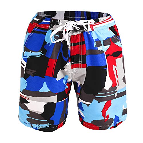Kute 'n' Koo Boys Swim Trunks, UPF 50+ Quick Dry Boys Swim Shorts for Big Boys and Toddlers, Size from 2T to 18/20 (18/20, Doodle Blue)