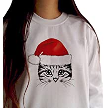 AmyDong Hot Sale! Women's Bottoming Sweater, Ladies Hooded Sweater Cat Christmas Hat Fashion Printing Long-Sleeved Round Neck Hooded Jacket