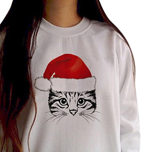 AmyDong Hot Sale! Women's Bottoming Sweater, Ladies Hooded Sweater Cat Christmas Hat Fashion Printing Long-Sleeved Round Neck Hooded Jacket (White, XL) - Bottoming Sweater