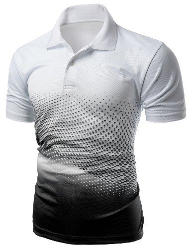 Mens Cool Max Fabric Sporty Design Printed Polo T-Shirt BLACK XXL