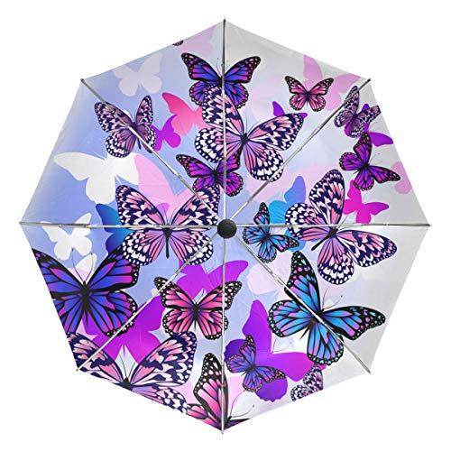 Pink Butterfly Lightweight Umbrella Windproof, Reinforced Canopy, Ergonomic Handle, Auto Open for Men Women ()