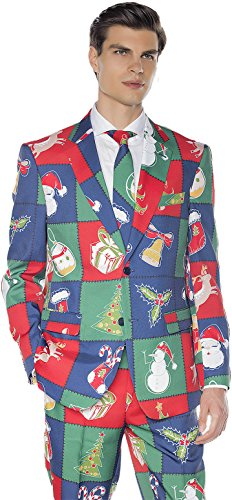 [Men's Christmas Holiday 3 Piece Suit | Funny Patchwork Costume Design with Jacket, Pants and Tie (XL - 48 (Extra Large))] (Extra Large Santa Suit)