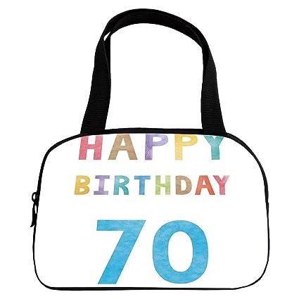 IPrint Increase Capacity Small Handbag Pink70th Birthday Decorations Vintage Worn Abstract 70 Happy