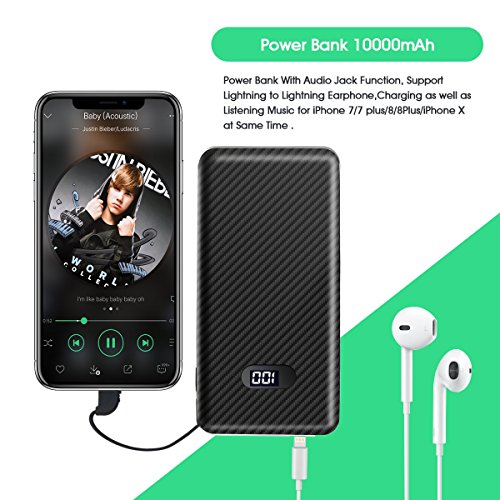 10000mAh Power Bank External Battery Pack with Built-in Lightning Music Audio Adaptor & Lightning Charging Connector for iPhone X iPhone 8 Plus/8/7/7Plus, Digital Number Indicator for Battery Capacity