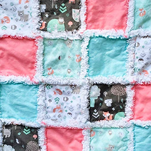 Woodland baby toddler rag quilt peach mint brown white with tiny forest creatures cavorting about
