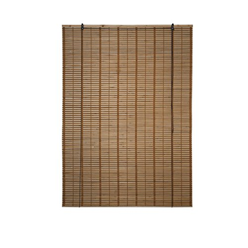 ALEKO BBL46X64BR Light Brown Bamboo Midollino Wooden Roll Up Blinds Light Filtering Shades 46 X 64 - Wooden Shade