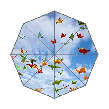 Beautiful Origami y el mil papel grúa fondo triple plegable lluvia paraguas /sombrilla/sol