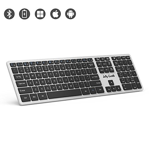 Bluetooth Keyboard — Jelly Comb K049 Full Size Bluetooth Rechargeable Keyboard Ultra Slim Universal Design for Windows iOS Android Macbook PC Laptop Tablet-(Black and Silver) by Jelly Comb