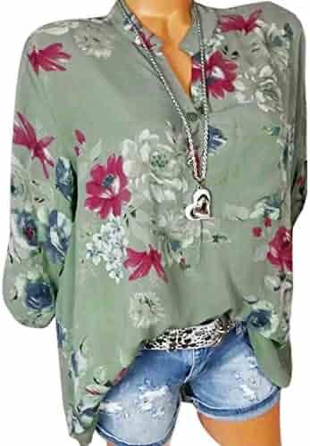 a050b453c4a3b Women s Henley V Neck Chiffon Shirt Summer Floral Print Tunic Tops Casual  Long Sleeve Half Button