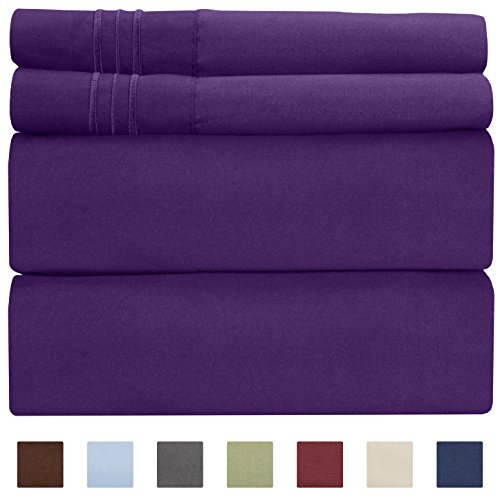 Full Size Sheet Set - 4 Piece Set - Hotel Luxury Bed Sheets - Extra Soft - Deep Pockets - Easy Fit - Breathable & Cooling - Wrinkle Free - Comfy - Purple Plum Bed Sheets - Fulls Sheets - 4 PC