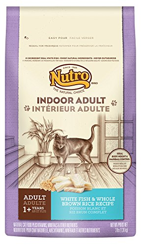 NUTRO Indoor Cat Adult Dry Cat Food, White Fish & Whole Brow