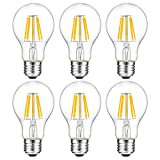 A 19 Led Bulb,Oak Leaf Edison Style Filament Vintage LED Bulb,7 Watt,60 Watt Equivalent,2700K,E26 Base,Pack of 6
