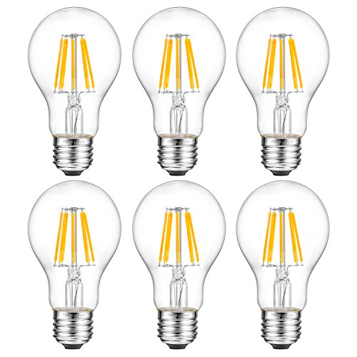 A19 Led Bulb,Oak Leaf Edison Style Filament Vintage LED Bulb,7 Watt,60 Watt Equivalent,2700K,E26 Base,Pack of 6 (Bulb Leaf 1)