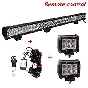 "Lumitek 36"" 234W Led Light Bar Flood Spot Combo Led Bar Off Road Lights Driving Fog Light for Jeep, SUV, UTV, Boat with 2 pcs 18w Cree Led Pods Flood Light,Remote Control Wiring Harness+120w……"