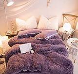 Faux Fur Shaggy Duvet Cover Lavender 3 Pcs ( 1 x Comforter Cover, 2 x Pillow Shams ) Zipper Closure Soft Warm Fleece Velvet Flannel Quilt Case Reversible Fuzzy Bedding Winter, Purple Queen