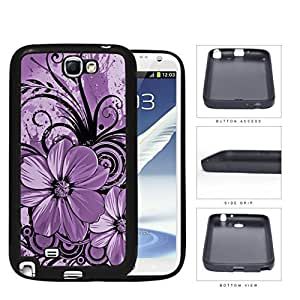 Pretty Floral Abstract Art (PURPLE) Samsung Galaxy Note II 2 N7100 Rubber Silicone TPU Cell Phone Case