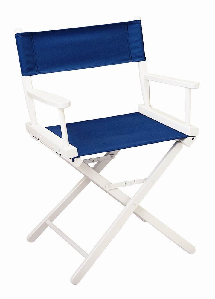 Gold Medal Chairs 18 in. Director's Chair w White Frame & Navy Blue Canvas