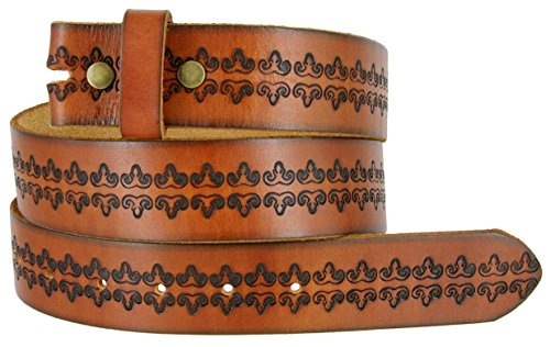 - BS042 Mens Vintage Tooled Full Grain Genuine Cowhide Leather Casual Jean Belt Strap 1.5