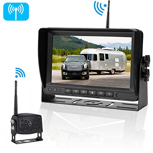 iStrong HD Digital Wireless Backup Camera System For RVs/Trucks/Trailers/5th Wheels/Motorhomes with 7'' Monitor Kit Rear View/Front View Camera IP69K Waterproof IR Night Vision (Rv Gps With Backup Camera)