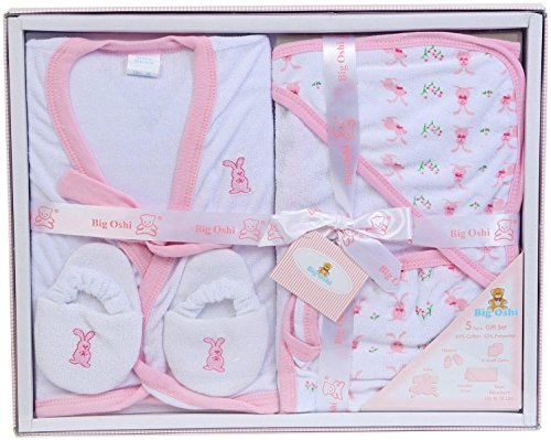 Big Oshi Bathtime Essentials Terry Layette Baby Gift Set, 5 Piece - Pastel Pink