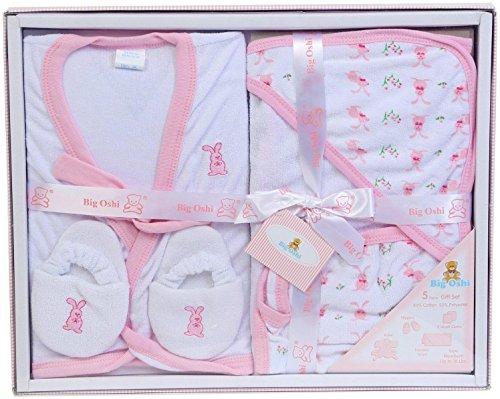 Big Oshi Bathtime Essentials Terry Layette Baby Gift Set, 5 Piece - Pastel Pink