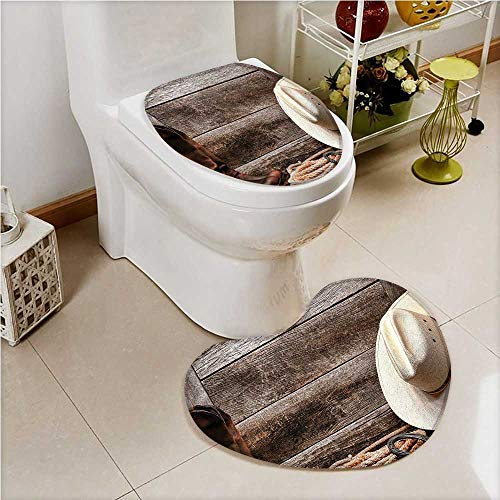 aolankaili 2 Piece Toilet Cover Set Western a Rodeo White Straw Hat Original Lariat Lasso and on Barn Tortilla Brown in Bathroom Accessories