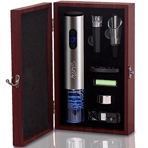 Premium Electric Wine Opener Set in Wooden Case- Wine Bottle Opener Extracts Corks from Wine Bottles in Mere Seconds - Includes Foil Cutter, Wine Pourer and Vacuum Wine Stopper