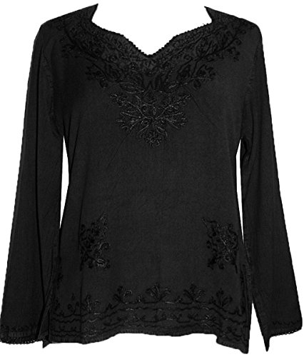 (720 B Medieval Renaissance Vintage Embroidered Top Blouse (3X, Black))