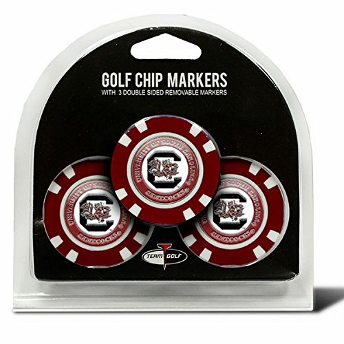 Set of 3 University of South Carolina Poker Chips with removable Golf Ball Markers South Carolina Chip
