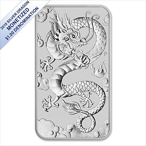 - 2019 AU Rectangular Silver Dragon (1 oz) $1 Brilliant Uncirculated Perth Mint