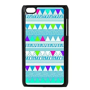 Aztec Colorful Pattern Bohemian Style Blue Polka Dot and Zigzag Design Custom Cover Case For IPod touch4(Black) with Best Plastic