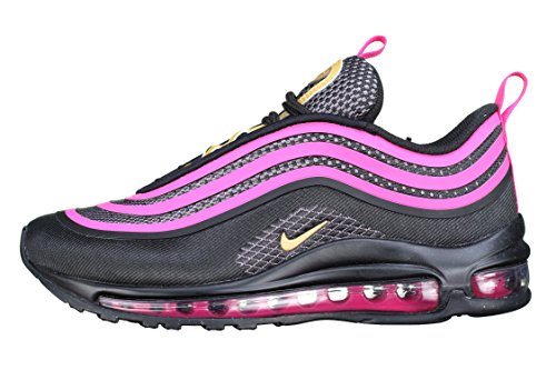 Nike Girls' Nike Air Max 97 Ultra '17 (GS) Shoe Black/Metallic Gold-Pink Prime-Dark Grey 5.5Y by NIKE