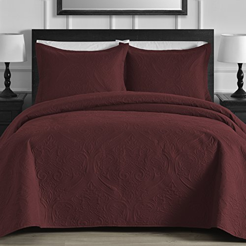 King & Queen Contemporary EXTRA Lightweight Thermal Pressed Flower Patterned 3 Piece Coverlet Set (King/Cal King, Burgundy)