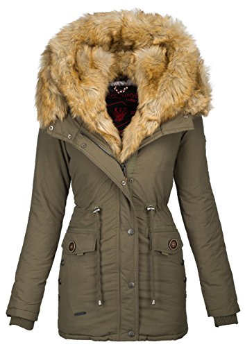 Navahoo 2in1 Damen Winter Jacke Parka Mantel Winterjacke warm Fell B365 Grün RfCv5t