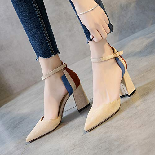 Yukun Schuhe mit hohen Absätzen Herbst Damenschuhe Vielseitige High Heels Damenschuhe EIN Wort Schnalle Mit Dicken Und Spitzen Damenschuhe