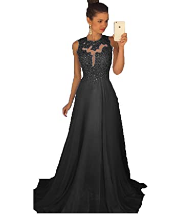 0f254e1d63f Gorgeous A-Line High Neck Lace Applique Prom Dresses Long Beaded Formal  Evening Gown Black