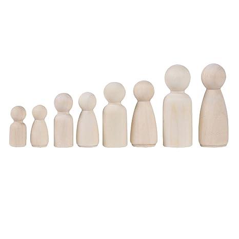 Baoblaze 20 St/ücke Holz Holzfiguren Spielfiguren Figurenkegel DIY Handwerk Kinder M/änner Frauen zum Basteln bemalen dekorieren