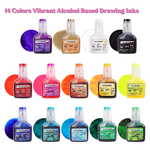 Alcohol Ink Set - LET'S RESIN Acid-Free &Fast Drying Alcohol-Based Drawing Inks Each 0.67oz/20ml,Highly Saturated Transparent Alcohol Ink for Fluid Art Painting,Ceramic,Glass,Resin(14 Bottles)