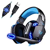 Mengshen USB Vibration Gaming Headset - 7.1 Surround Stereo Sound Over Ear Headphones with Mic, Noise Isolating and Volume Control for Computer PC Mac Laptop Smart Phone, G2200 Blue