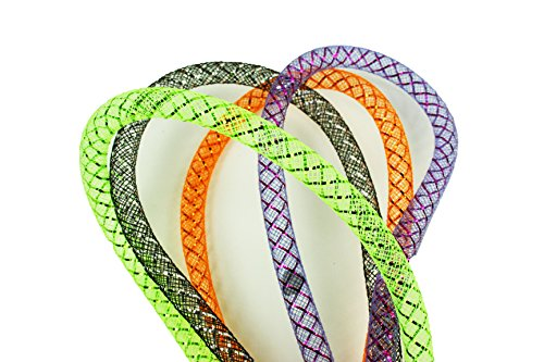 Halloween Set of 4 Colors 8MM Deco Mesh Tubing Flexible Tube Party 28 Yards Total (Black, Purple, Orange, Green) -