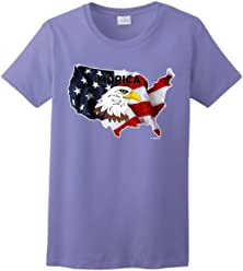 ThisWear Murica Bald Eagle Over United States Patriotic Ladies T-Shirt