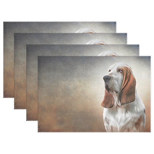 6pcs-drawing-dog-basset-hound-polyester-placemat-12x18-in-washable-heat-and-crease-resistant-printed