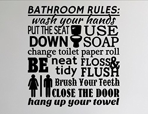 Bathroom Rules - Vinyl Wall Sticker Gloss Gold