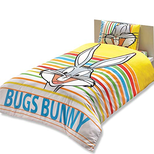 TAC Bugs Bunny Striped Ranforce Duvet Quilt Cover Set Licenced Product...